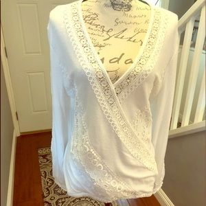 Inc. v-neck lace surplice sweater